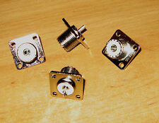 FIVE NEW SO239 A CHASSIE SOCKET'S  NEW FOR RF HAM RADIO USE 4 HOLE FIXING