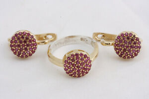 Turkish Ottoman Jevelry 925 Sterling Silver Ruby Topaz Sets Ring Size 8