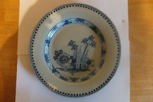 ENGLISH DELFTWARE-TIN GLAZE-BAMBOO & PEONIES PATTERN-ABOUT-1750-1760-PERFECT CON