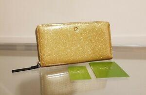 Kate Spade NY Mavis Street Gold Glitter Wallet NEW