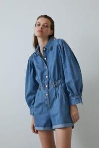 NWT ZARA Voluminous Organic Cotton Denim Puff Sleeve Shortall Romper Shorts S 4