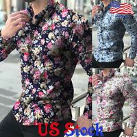 Men Slim Fit Casual Long-sleeve Floral Print Shirt Muscle Tee Blouse Tops Button