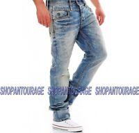 Cipo & Baxx C1124 New Men`s Straight Leg Fashion Original Unique Denim Jeans