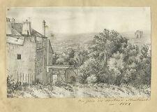 DESSIN ORIGINAL VUE DE PARIS PRISE DES HAUTEURS DE MONTMARTRE EN 1852