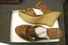 womens andre assous bally-a brown leather double strap wedge heels shoes 41/11