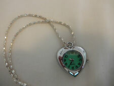 Watch - Heart Pendantt Watch with Green Face on Silver Plated Chain