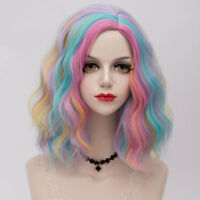 Cap Blau Rosa Blonde kurz Lolita Halloween Cosplay Perücke Gothic Lockig 35cm