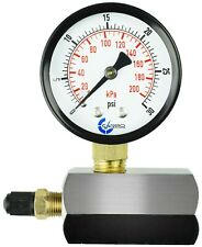 "Gas Test Pressure Gauge 30 Pound, 30 PSI / 100 kPa 3/4"" FNPT Connection Assymbly"
