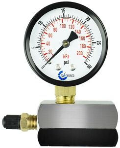 """Gas Test Pressure Gauge 30 Pound, 30 PSI / 200 kPa 3/4"""" FNPT Connection Assembly"""
