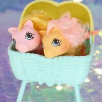 Vintage My Little Pony Newborn Baby Twins NIBBLES & DIBBLES Bassinet G1 BC703