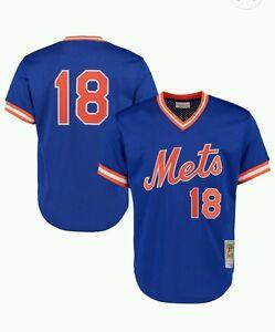 NEW MITCHELL & NESS New York Mets #18Strawberry BATTING PRACTICE MESH JERSEY MLB