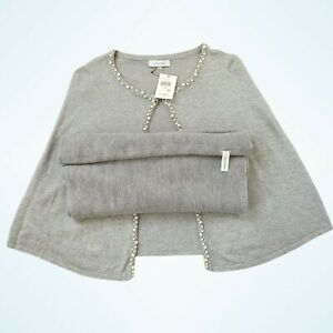 Calvin Klein Gray Women's Jersey Knitted  with Pearl Trim On Edges Cape Poncho