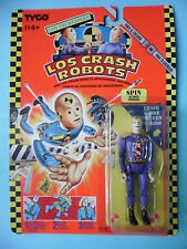 LOS CRASH ROBOTS CRASH DUMMIES SPIN FIGURE MOC TYCO 1991 SPANISH CARD