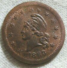 1863 Civil War Token Wilsons 1 Medal