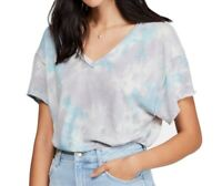 Free People Womens Knit Top Blue Size Large L All Mine Tie Dye V-Neck $68 147