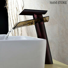 Oil Rubbed Bronze Bathroom Vessel Faucet Glass Waterfall One Hole Cheap Tap