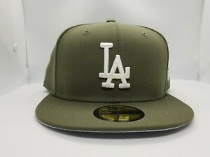 NEW ERA 59FIFTY FITTED HAT.  MLB.  LOS ANGELES DODGERS.  NEW OLIVE GREEN.