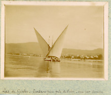 Suisse, Genève, Tartane sur le Lac de Genève, ca.1900, vintage citrate print Vin