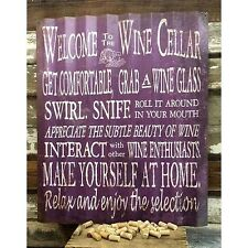 "Welcome to the Wine Cellar Corrugated Metal Sign!~Big 36"" X 30""!~Ships Worldwide"
