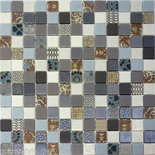 1SF- X-Studio Unique Pattern Glass Mosaic Tile Backsplash Kitchen Gray Blue Pool