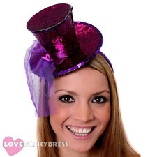 MINI GLITTER TOP HAT HEADBAND VEIL LADIES BURLESQUE HEN PARTY PARTY FANCY DRESS
