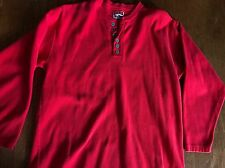 Marlboro Unlimited USA Red Ribbed Thermal Henley Long Sleeve Shirt Size Men's L