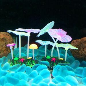 Artificial Glow In The Dark Plant Lotus Leaf Fish Tank Aquarium Ornament HC