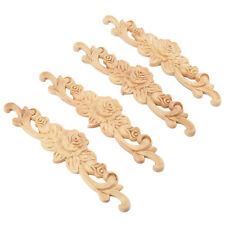 4pcs 20*5cm Rubber wood Carved Long Onlay Applique Unpainted Rose Flower X9H6