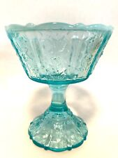 Fenton Blue Opalescent Glass Footed Compote Paneled Daisy Candy Dish No Lid