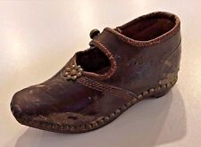 Antique Victorian Salesman Sample Clog Shoe Burgundy Womans Leather Wood Tacks