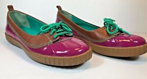 COLE HAAN SZ 6 PURPLE/BROWN PATENT LEATHER CLOSE TOE LACE UP BOAT SHOES