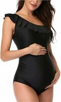 GINKANA Maternity Swimwear Womens Bikinis Tankini Summer, Black, Size Medium