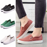Women Canvas Flat Shoes Sports Loafers Ladies Girls Casual Slip On Sneakers Size