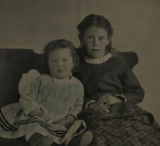 TINTYPE PORTRAIT OF YOUNG SISTERS ON CHAIRS.TINTED, INCREDIBLY SHARP.HALF PLATE.