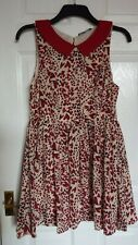 Miso size 14 cream red black heart print floaty skater dress