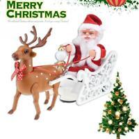 Weihnachtsmann im Schlitten mit Rentier Hirsch Verzierungs Weihnachten
