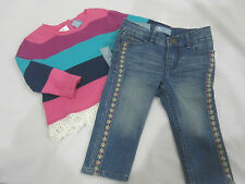 BABY GAP Girls Skinny Fit Emroidered Jeans & Matching Sweater Top Sz 12-18m