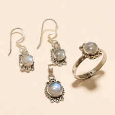 Real Blue Flame Moonstone Ring Earrings Pendant 925 Sterling Silver Fine Jewelry
