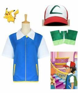Pokemon Ash Ketchum Kinder Cosplay Set Erwachsene Kostümjacke + Handschuhe + Hut