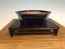 "Dark Blue Glazed Shohin Size Tokoname Bonsai Tree Pot By Yamafusa 4 7/8"""