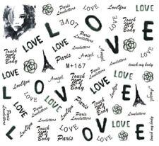 Nail Art Stickers Water Decals Transfers Valentines Paris Love (M+167)