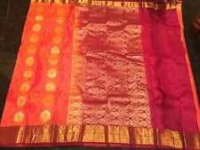 Bridal Kanchipuram Indian Silk Saree Bollywood Sari Orange Maroon Burgundy A34