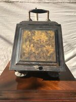ANTIQUE 19TH CENTURY NICE TOLE WARE PAINT DECORATED LIGHT TIN COAL HOD W/ TRAY