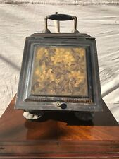 EXCEPTIONALLY 19TH CENTURY NICE TOLE PAINT DECORATED LIGHT TIN COAL HOD W/TRAY