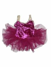 Girl Curtain Call Pink Velour Tutu Leotard Sequin Straps Dance Ballet Size CME