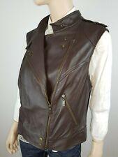 APART - Damen Biker Lederweste Gr. 46 Jacke braun Leather Coat Jacket Weste