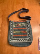 Lucky Brand Denim Crossbody Purse Embroidered Whipstitch NWOT