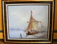 VINTAGE  OIL PAINTING ON CANVAS SIGNED OCEAN LANDSCAPE,  SHIPS, BOATS,