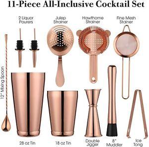 VinoBravo 11pc Bartender Kit Rose Copper Premium Boston Cocktail Shaker Bar Set