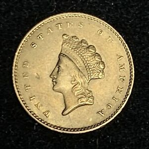 XF+ 1854 Indian Head Type 2 Gold Dollar w/ small obverse dig old $1 coin p